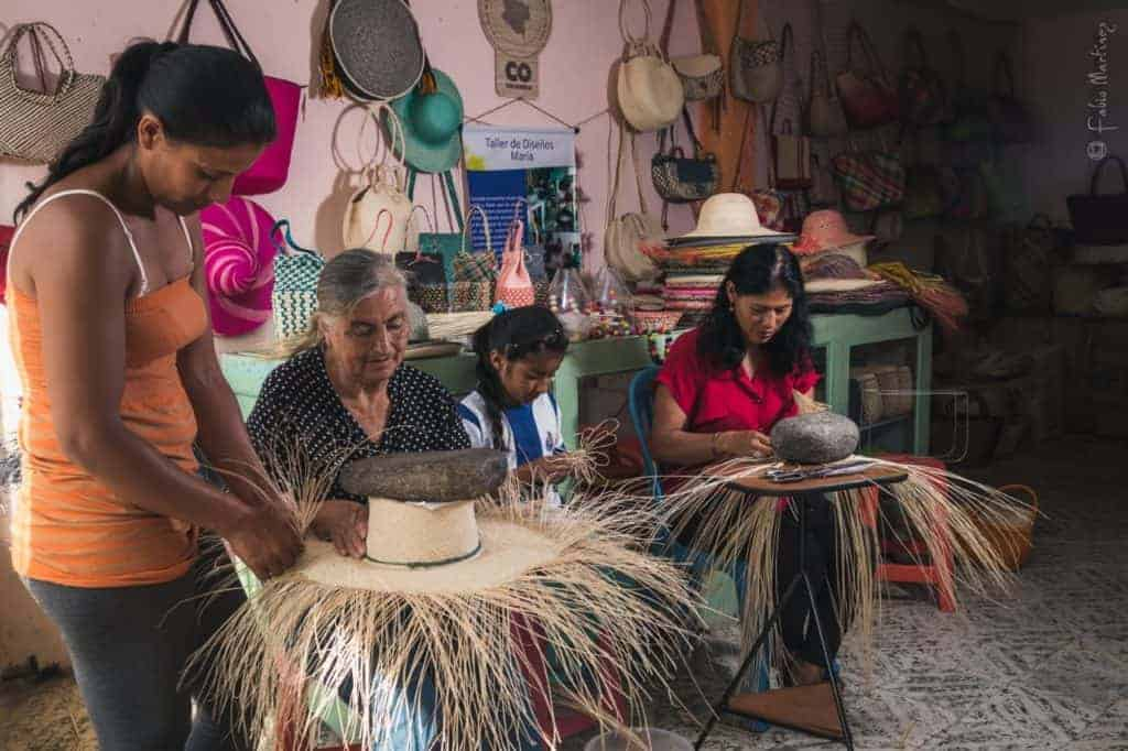 Picture of women from Sandona, nariño weaving hats from iraca fibers
