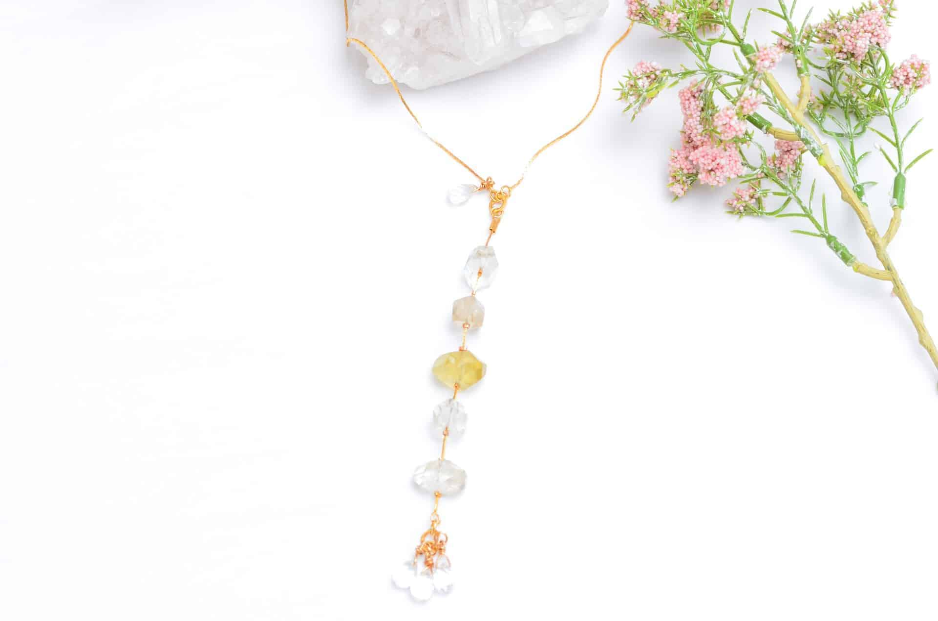 Raw Citrine Necklace With Delicate Gold Filled Chain