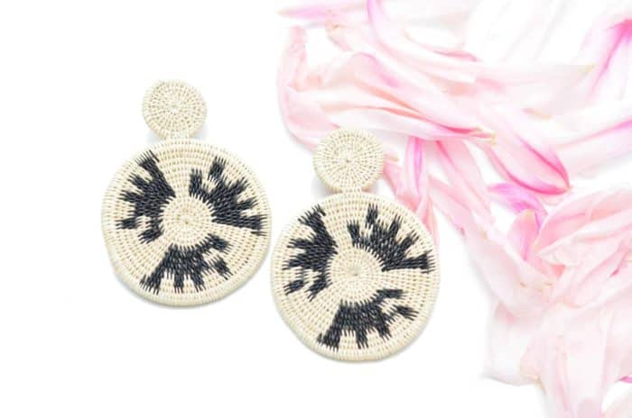 close up picture of a Werregue Double Circle Earrings on white background by Kiskadee Design