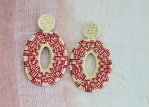 Kiskadee Design Catalogue Image of a Beautiful red sunset large earrings Handwoven red werregue Earrings handmade woven Earrings made with werregue fibers
