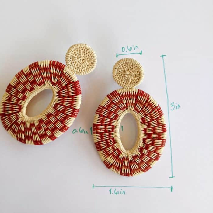 Kiskadee Design Image with Product Dimensions of a Beautiful red sunset large earrings Handwoven red werregue Earrings handmade woven Earrings made with werregue fibers