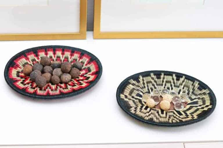 Kiskadee Design Image with ProductS being Used of a Black, White and Red Wide Pattern and a Black and White Pattern Handmade Bowls by The Wounaan Tribe in The Colombian Pacific Coast