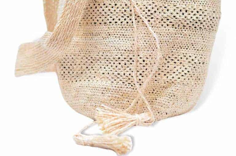 Kiskadee Design Close Up Image of a Colombian Mochila Bag in White Fique