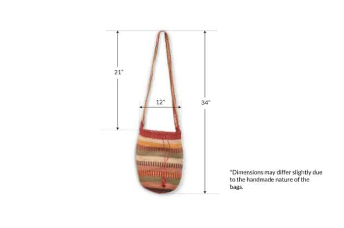 Kiskadee Design Image with Product Dimensions of a Chemesquemena Colorful Pattern Kankuamo Fique Mochila by Women of the Indigenous Tribe in the Sierra Nevada de Santa Marta - Colombia