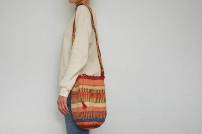 Kiskadee Design Image with Product being Used of a Ponton Pattern Colombian mochila by Women from the Kankuamo Indigenous Tribe in the Sierra Nevada de Santa Marta - Colombia