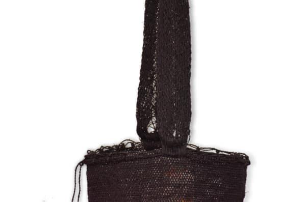 Kiskadee Design Close Up Image 2 of a Black Colombian Crossbody Bag by Women from the Kankuamo Indigenous Tribe in the Sierra Nevada de Santa Marta - Colombia