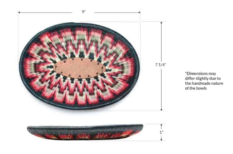 Kiskadee Design Image with Product Dimensions of a Black, White and Red Wide Pattern Handmade Bowl by The Wounaan Tribe in The Colombian Pacific Coast
