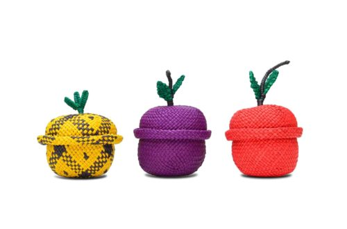 Kiskadee Design Catalogue Image of a Pineapple, Grape and Apple-Shaped Tiny Woven Baskets by the artisans in Sandona Narino