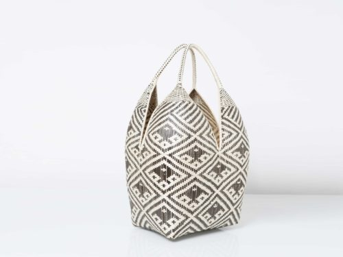 Kiskadee Design Catalogue Image of a Black and White Fish Pattern 27 inches High 4 Tetas Basket handwoven by artisans in Colombia