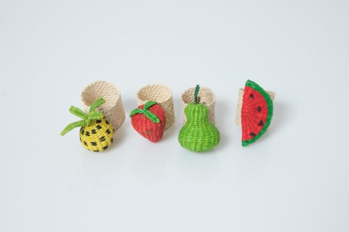 Kiskadee Design Catalogue Image of a Pineapple Strawberry Pear and Watermelon Fruit Napkin Rings by the artisans in Sandona Narino