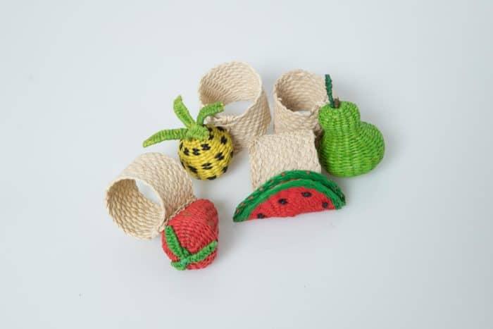 Kiskadee Design Iraca woven Fruit Napkin rings