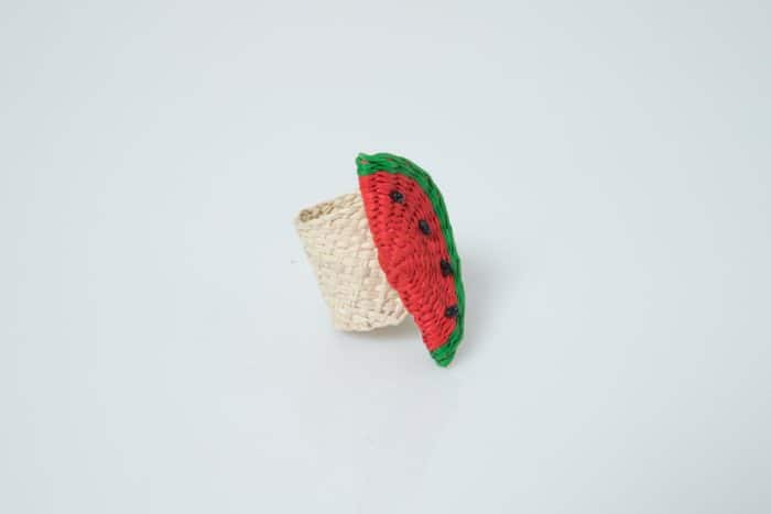 Kiskadee Design Watermelon Napkin Ring Handwoven in Sandona Colombia