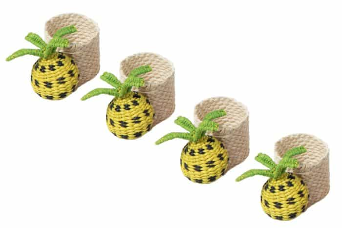 set of 4 napkin rings woven from iraca natural fibers in the shape of pineapples