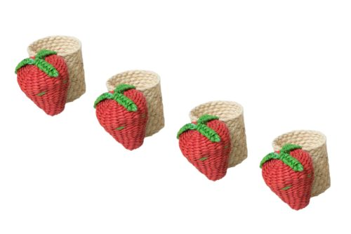 set of 4 napkin rings woven from iraca natural fibers in the shape of strawberries
