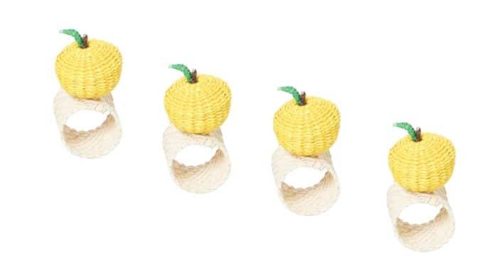 lemon shape napkin rings in iraca set of 4