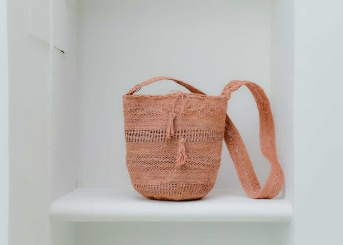 Front View Image handmadein Colombia with natural fique fibers Easy boho bag, made by the Kankuamo indigenous tribe