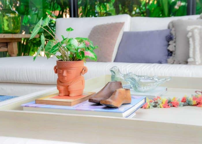 Kiskadee Design Image with Product being Used of a Made in Raquira Sitting shaman plant pot Natural clay, made in Colombia