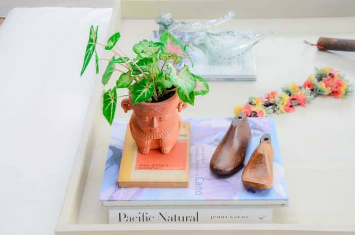 Kiskadee Design Image with Product being Used 2 of a Made in Raquira Sitting shaman plant pot Natural clay, made in Colombia