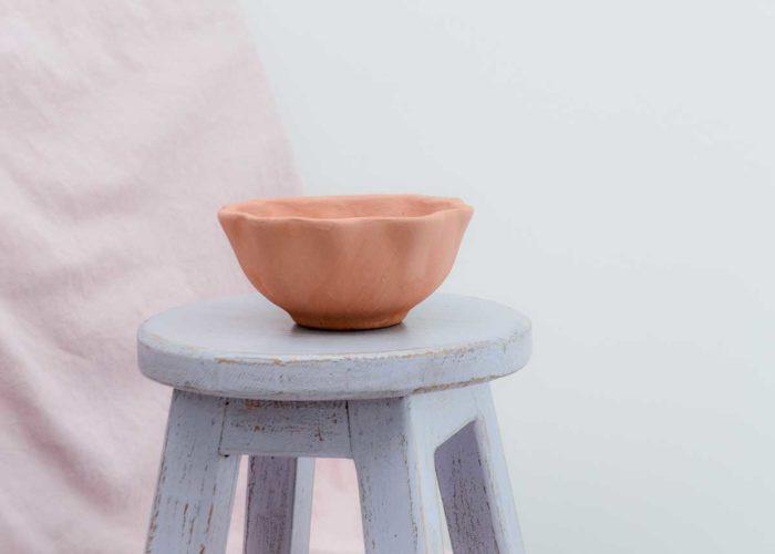Kiskadee Design Side View Image of a Wavy delicate handmade wide pot Desert rose clay pot Natural clay, Made in El carmen de viboral