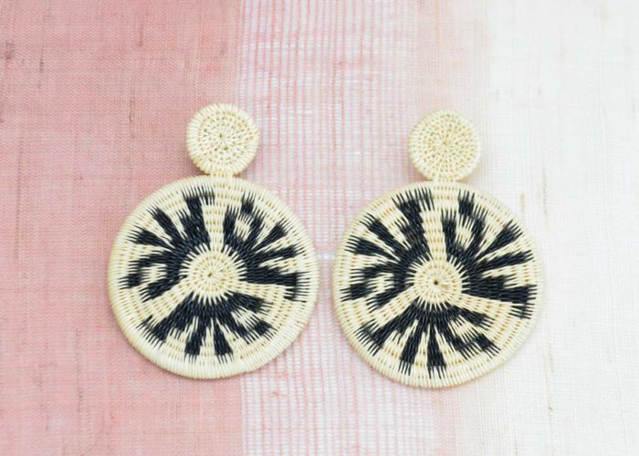 Kiskadee Design Close Up Image of a Beautiful accessories made by members of the Wounaan Indigenous tribe Werregue double circle earring, Natural handmadein Colombia with natural Werregue fibers