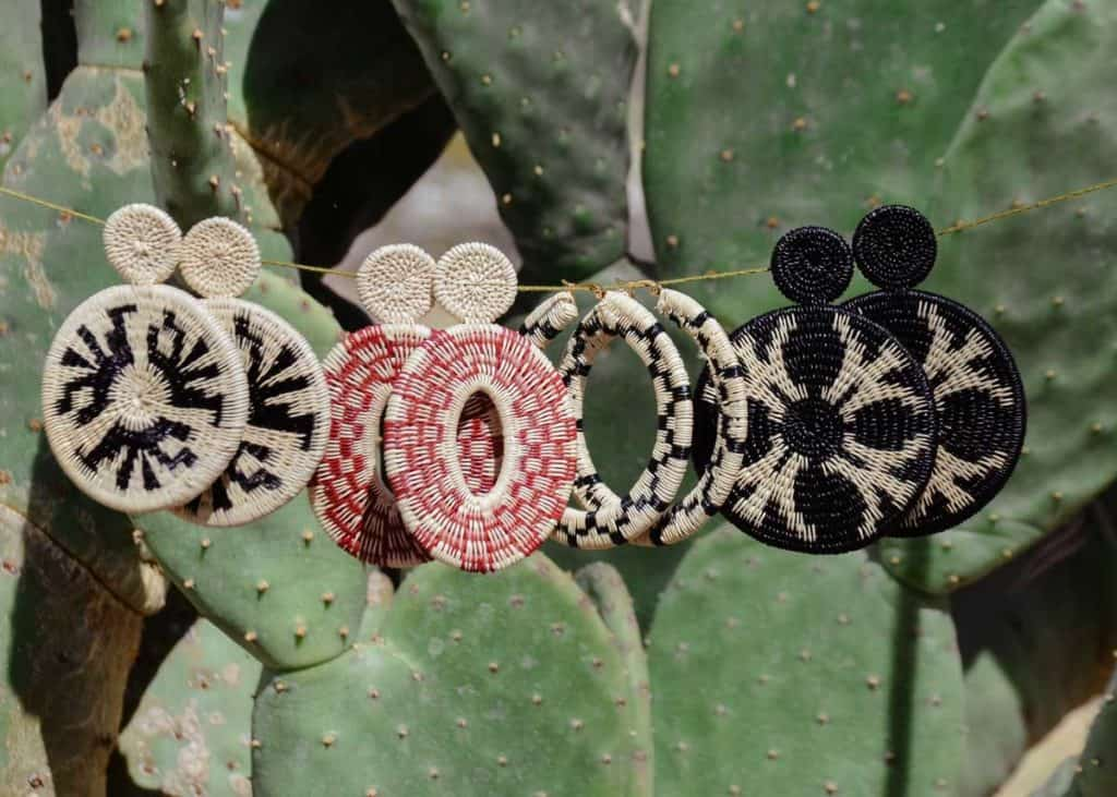Kiskadee Design Catalogue Image of various large earrings Handwoven werregue Earrings handmade woven Earrings made with werregue fibers