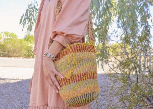 Kiskadee Design Catalogue Image of a Made by women from the Kankuamo tribe in the Sierra Nevada de Santa Marta - Colombia Handwoven Kankuamo Fique Mochila - MOJAO handmade woven shoulder bag in colorful pattern