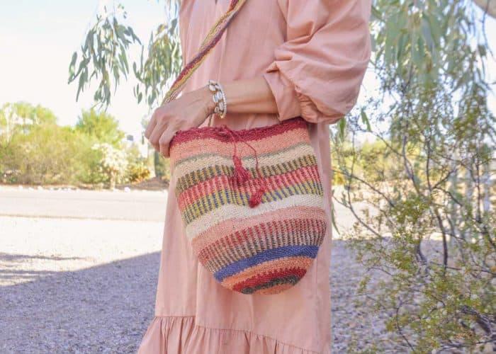 Kiskadee Design Close Up Image of a Made by women from the Kankuamo tribe in the Sierra Nevada de Santa Marta - Colombia Handwoven Kankuamo Fique Mochila handmade woven shoulder bag in colorful pattern